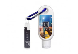 1.9 Oz. Clear Sanitizer with Carabiner and SPF 15 Lip Balm