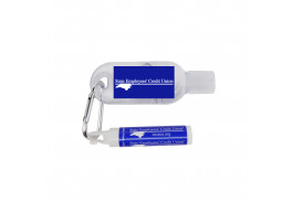 2 Oz. Tottle Antibacterial Hand Sanitizer With Carabiner & Clip Lip Balm